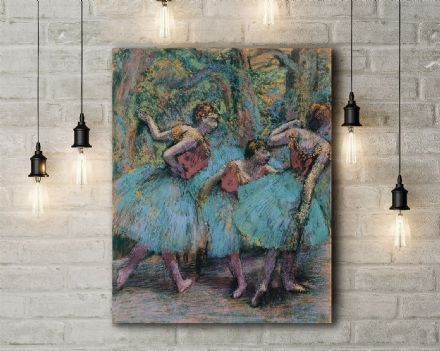 Edgar Degas: Three Dancers (Blue Tutus, Red Bodices). Fine Art Canvas.